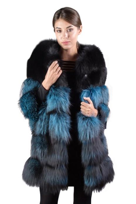 blue  black fox fur coat  collarless 4-5 length  sleeves