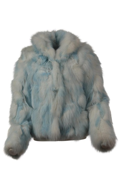 white blue fox fur jacket zipper closure
