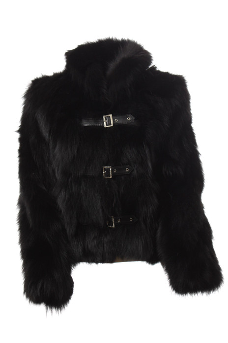 black fox fur jacket with leather buckles
