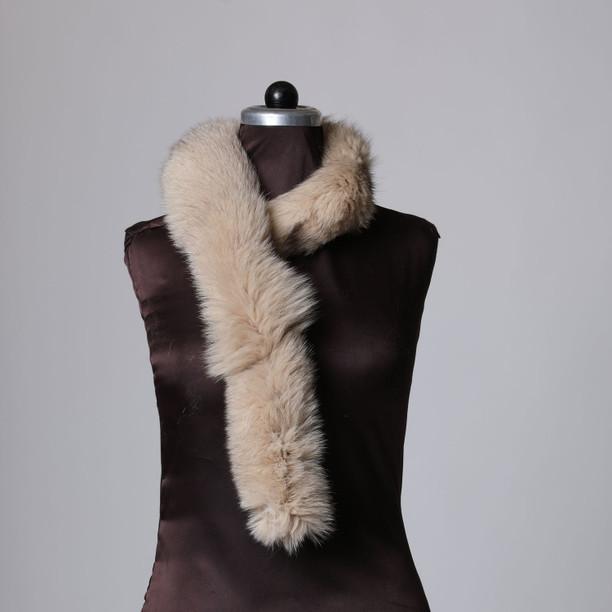 Beige Fox Fur Trim Dense