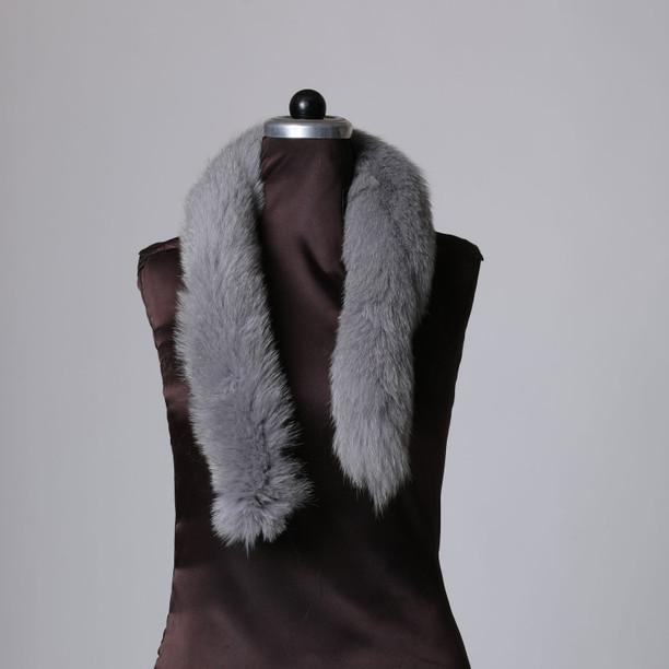 Cloudy Sky Fox Fur Trim
