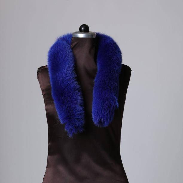 Ocean Blue Fox Fur Trim