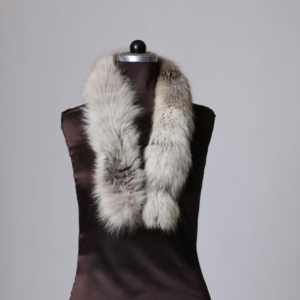 Pale Gray Fox Fur Trim