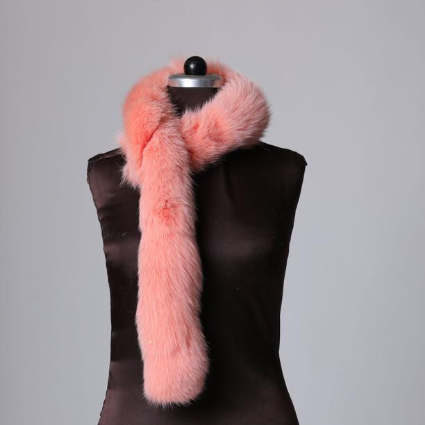 Salmon Pink Fur Trim Dense