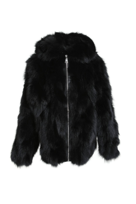 hooded black fox fur jacket for men with zipper closure