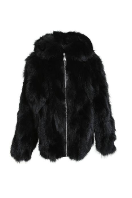 hooded black fox fur jacket for men with zipper closure
