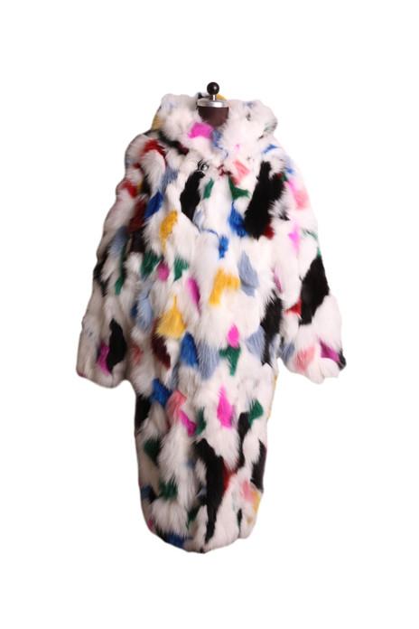 multicolor  hooded lon fox fur coat