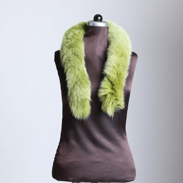 Lime Green Fox Fur Trim