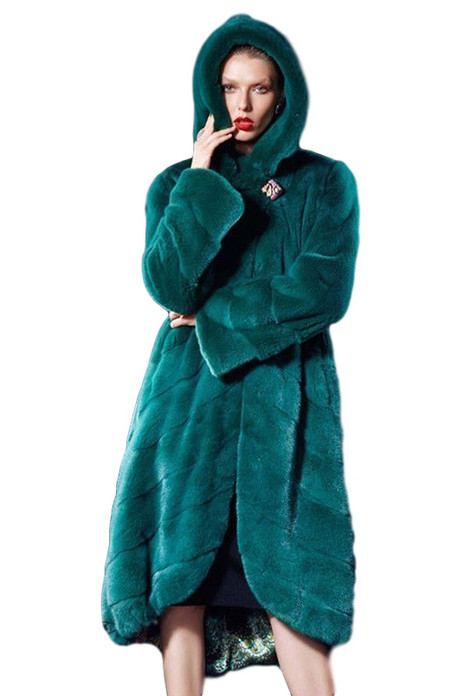 green mink hooded fur coat SAGA asymetric cut