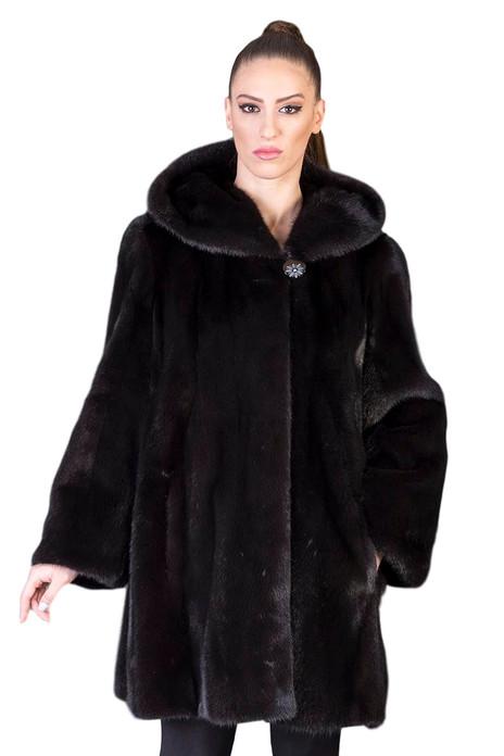 black mink saga fur coat hooded skin to skin