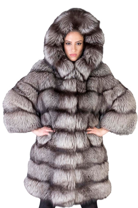 SAGA SILVER FOX FUR COat hooded