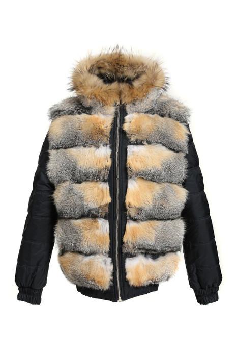 mens reversible fox fur coat  hooded furry view
