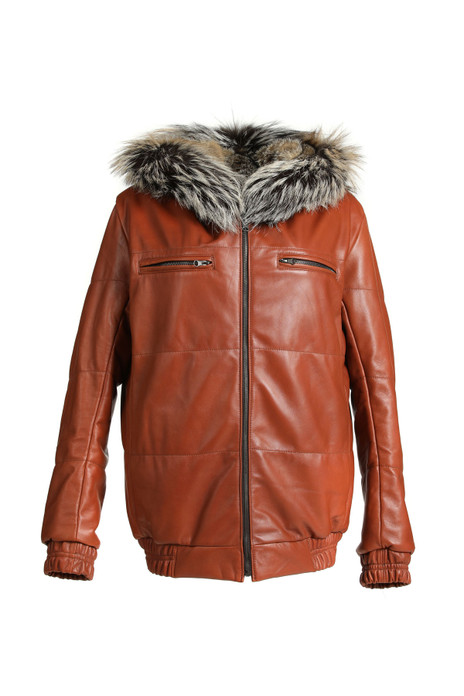 mens fox fur and lamb leather bomber jacket with zipper closure