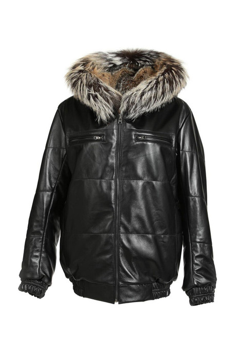 mens fur and lamb leather jacket with hood reversible