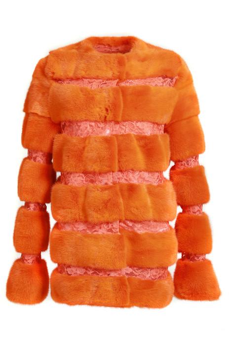 Neon Orange Mink Fur Coat