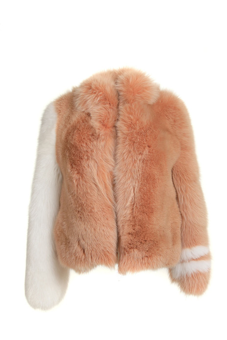 ginger fox fur bomber jacket with white sleeve low cut collar college inspired