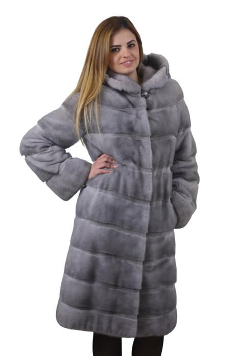 sapphire mink fur coat with hood long version mink fur skins stitched horizontally saga mink fur