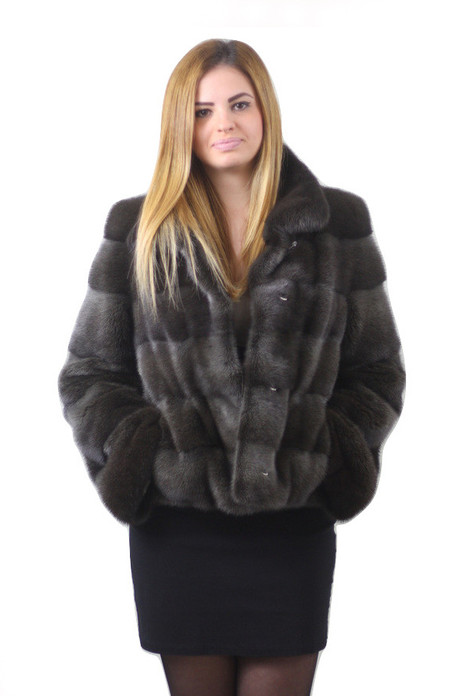 gray mink fur jacket notched collar saga fur
