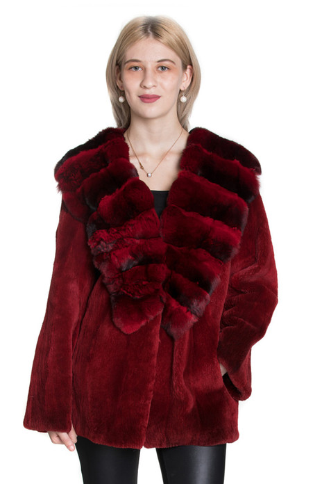 red chinchilla and mink fur jacket
