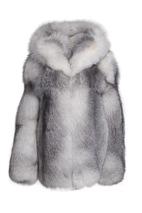 Mens Shadow Fox Fur Hooded Coat