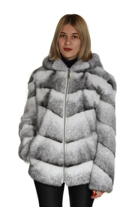 Black Cross Hooded Mink Fur Coat Toronto