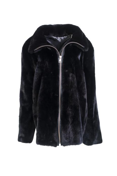 men's black mink fur coat classic cut with zipper closure