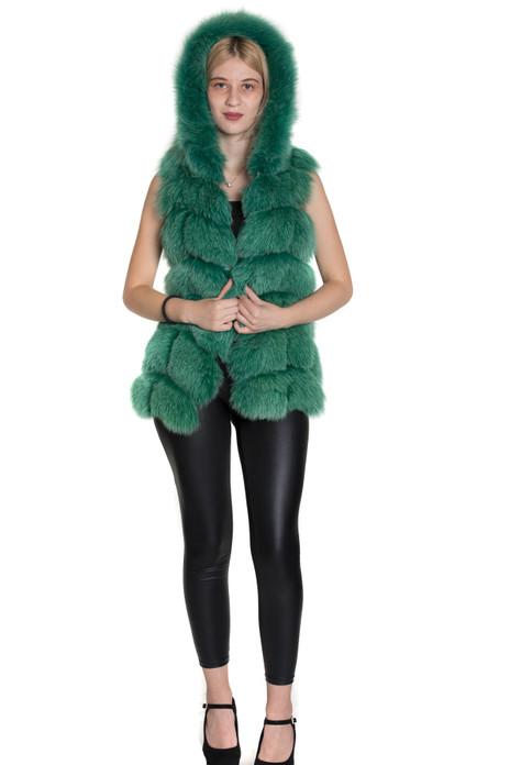 Hooded  Green Fox Fur Vest