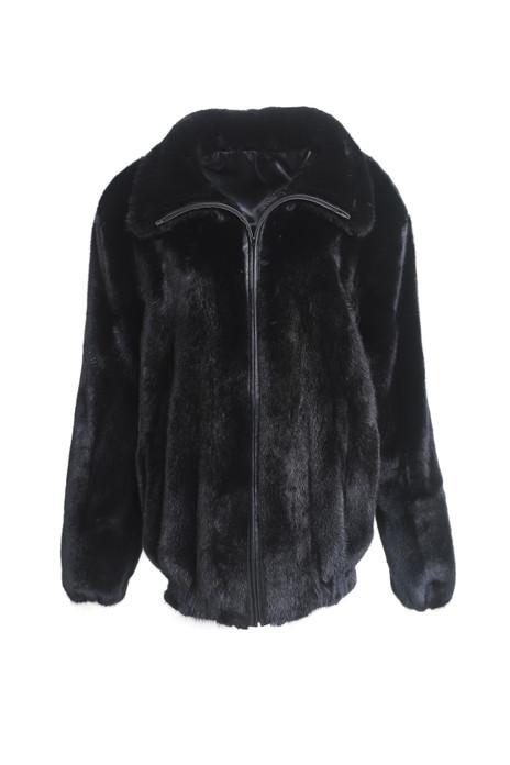 men's black mink fur bomber coat woth elasticised waist and cuffs zipper closure