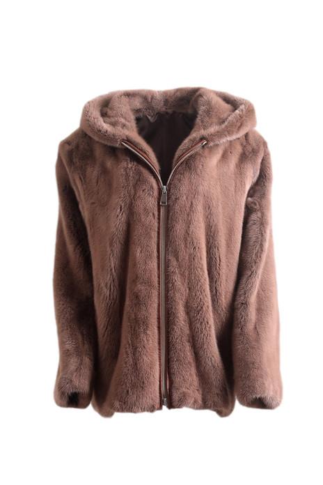 Men's Brown Mink Fur Hooded Coat