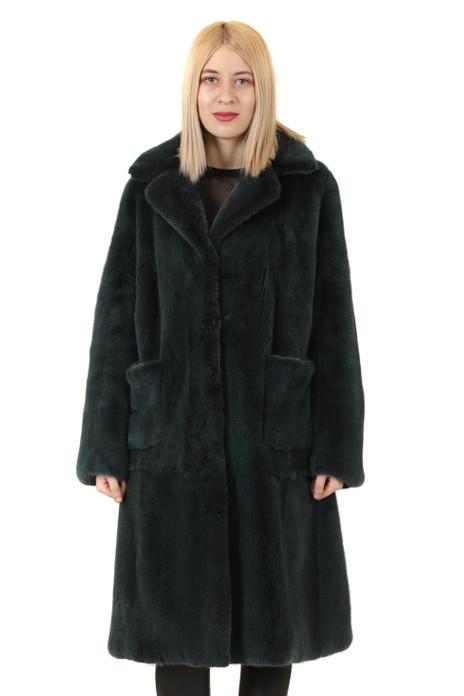 petrol mink fur coat knee ;ength square visible pockets