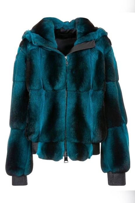 mens blue black chinchilla bomber jacket with hood elasticized waist and cuffs zipper closure
