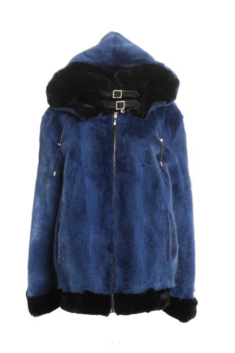 Blue  Hooded Mink Fur Coat