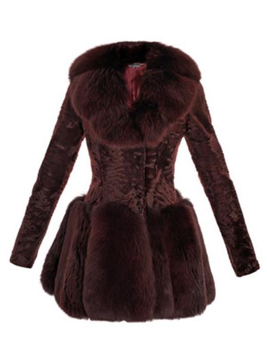 Designer Brown Ashtrakhan & Fox Fur Coat