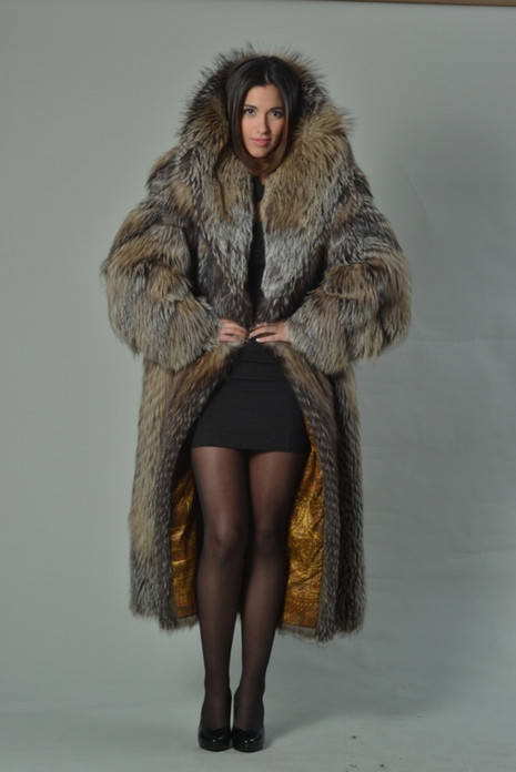 Full Length Crystal Fox Fur Coat Hooded fully let out