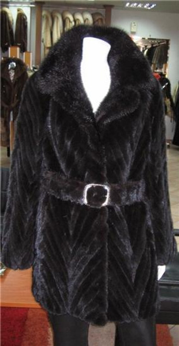 Black Mink Fur Coat knee Length Belt size XXL