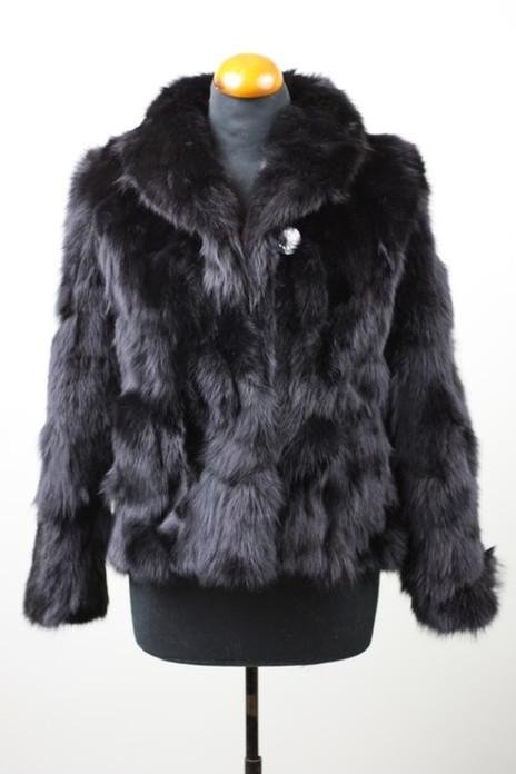 Black Fox Fur Jacket with shawl collar sectional waist length