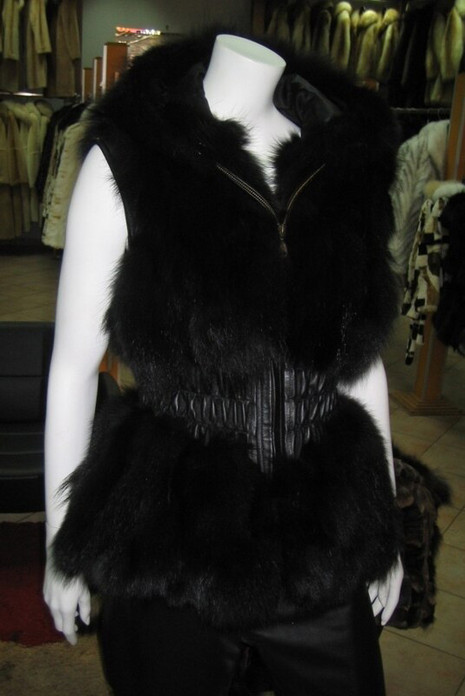 Black Fox Fur Vest Hood Leather Waist