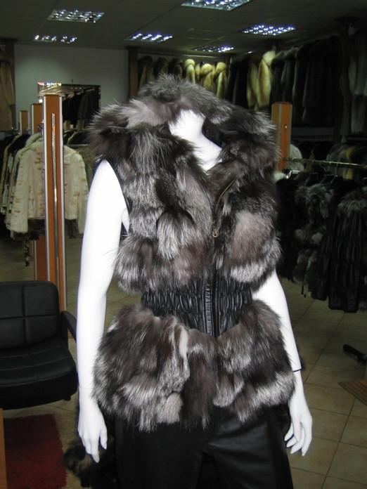 Silver  Fox Fur Vest Hood Leather Waist XS>XL