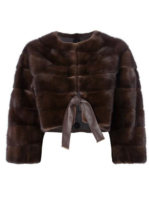 Mahogany Mink Fur Bolero With Brown Leather Belt