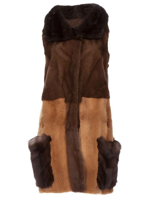 Multicolor Mink & persian lamb Fur Vest