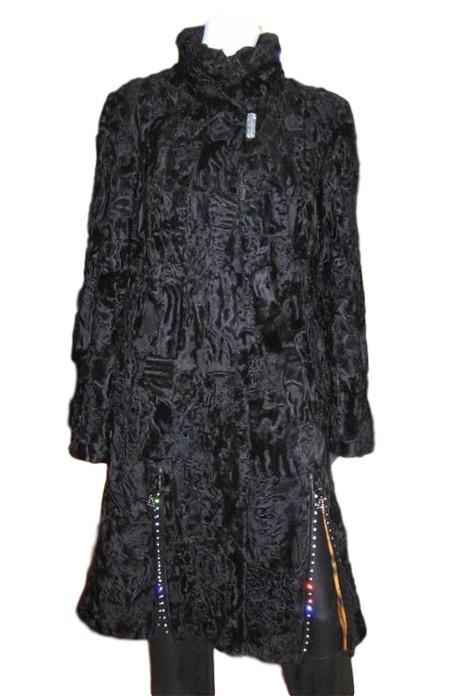 persian lamb fur coat side slits stand up collar