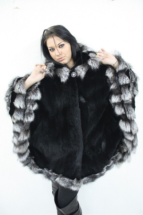 Fur Cape Black Rex Rabbit & Silver Fox Trim
