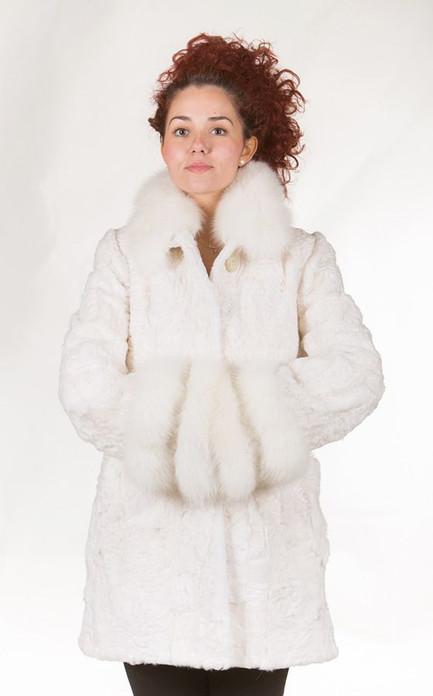 white persianWhite Persian Lamb Coat Fox Collar and Dual Fox Cuffs lamb fur coat with fox fur collar and dual white fox fur cuffs