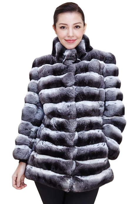genuine chinchilla fur jacket hip length