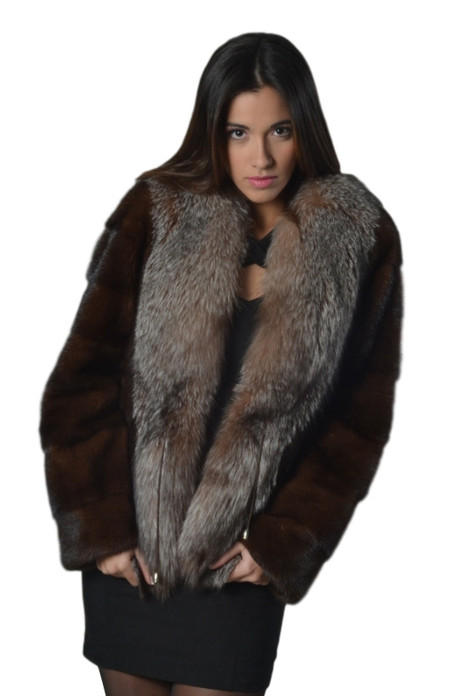 mahogany mink fur coat with crystal fox collar front view