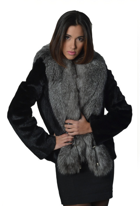 Black mink fur coat silver fox fur collar waterffall hem