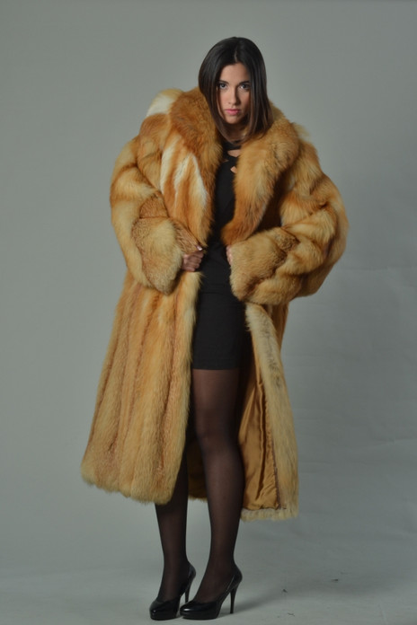 red fox fur coat full length fully let out with shawl collar