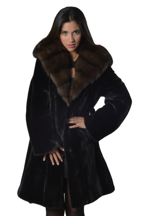 Black Mink Fur Coat  With Sable Cobra   Hood Ending In Sable Shawl Collar