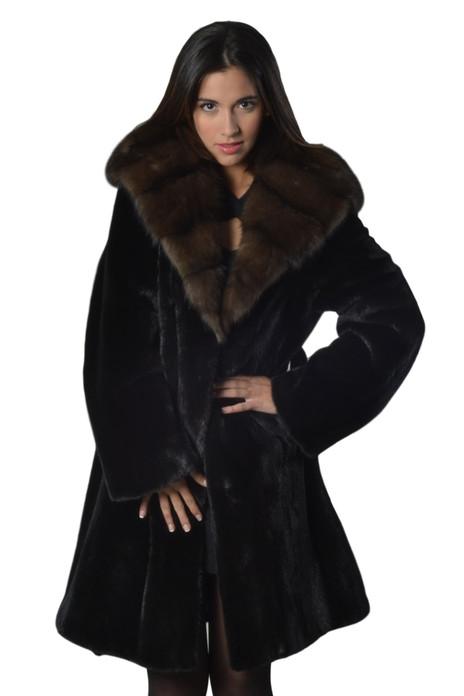 Black Mink Fur Coat  With Sable Cobra   Hood Ending In Sable Shawl Collar