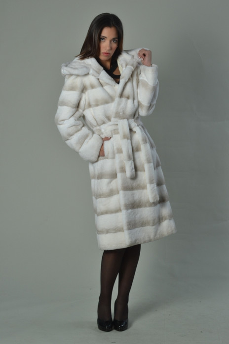 white rex fur coat hooded
